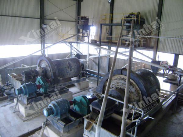 铅锌矿选矿项目现场,球磨机正在工作